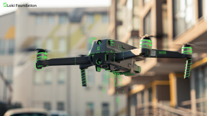 Drone hovering in midair representing use of surveillance to combat COVID-19