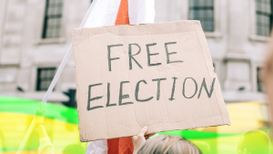 Elections free speech election interference cardboard sign Free Election